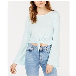 Hippie Rose Juniors Knot Front Ribbed Top